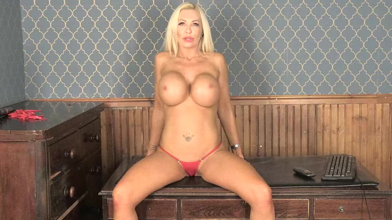 Cheerful Blonde Sarah Matty Posing On A Chair In Lingerie